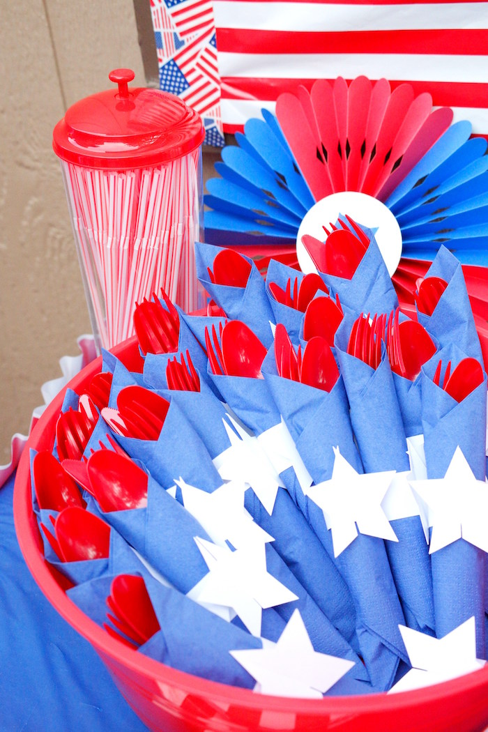 Karas Party Ideas Patriotic Red White and Blue Barbecue