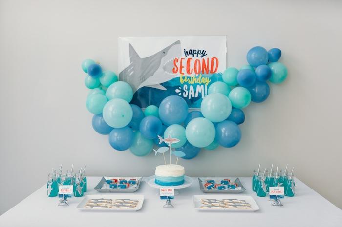 "Kara's Party Ideas ""Chomp"" Shark Themed Birthday Party"