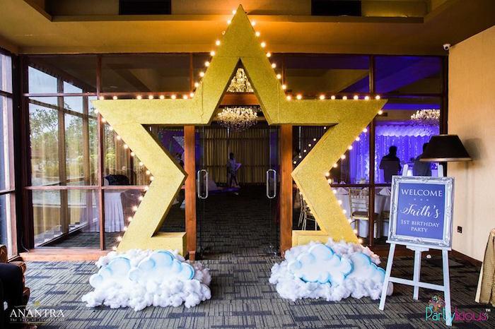 white and gold chair design steel kara's party ideas stars moon birthday |