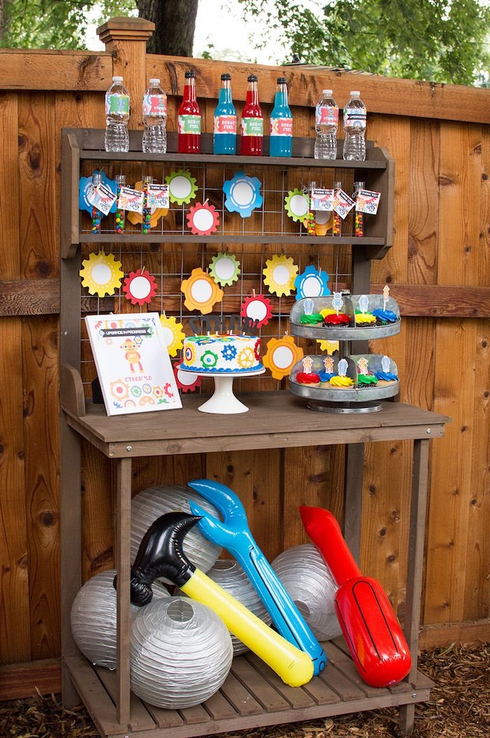 Kara S Party Ideas Colorful Robot Birthday Party Kara S