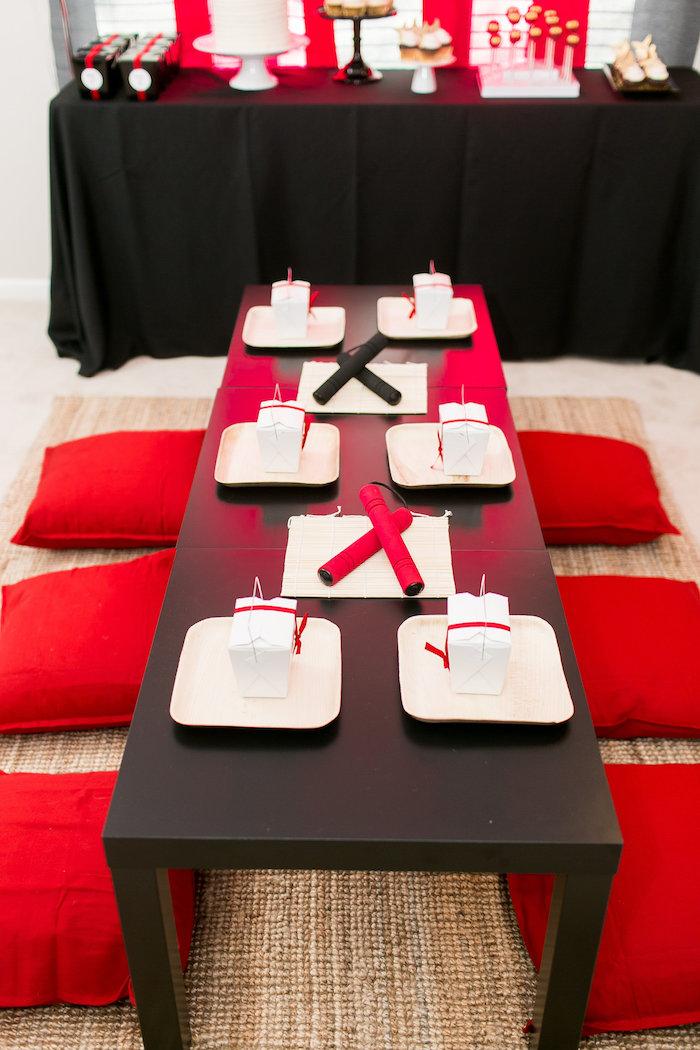 Karas Party Ideas Red White  Black Ninja Birthday Party