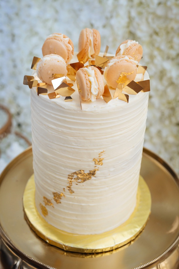 Karas Party Ideas White and Gold Baby Shower  Karas