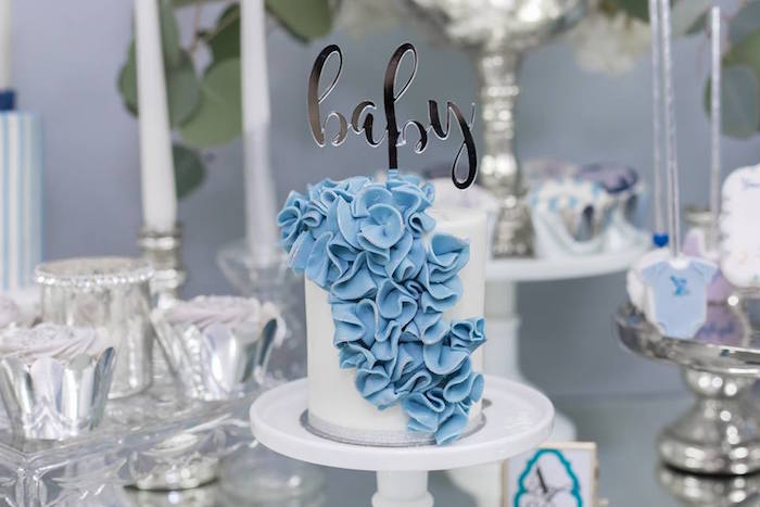 Karas Party Ideas Silver  Blue Elephant Baby Shower