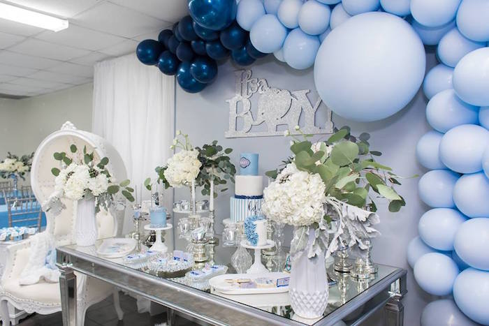 how to make a baby shower chair swing stand cheap kara's party ideas silver & blue elephant  