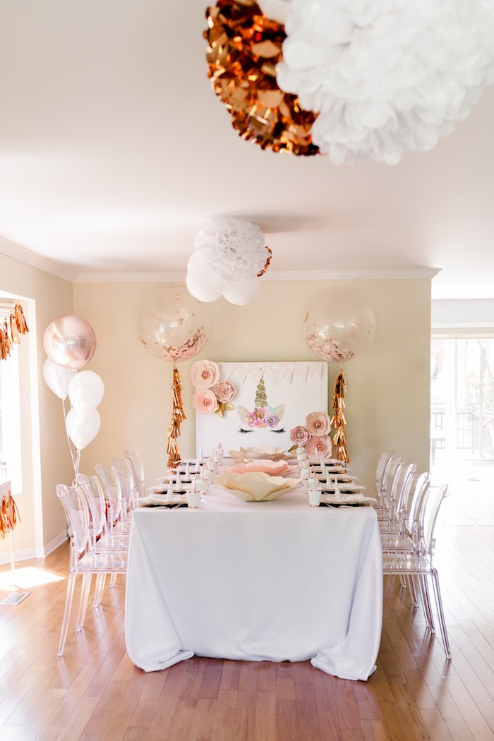 Karas Party Ideas Rose Gold  Blush Pink Unicorn Party