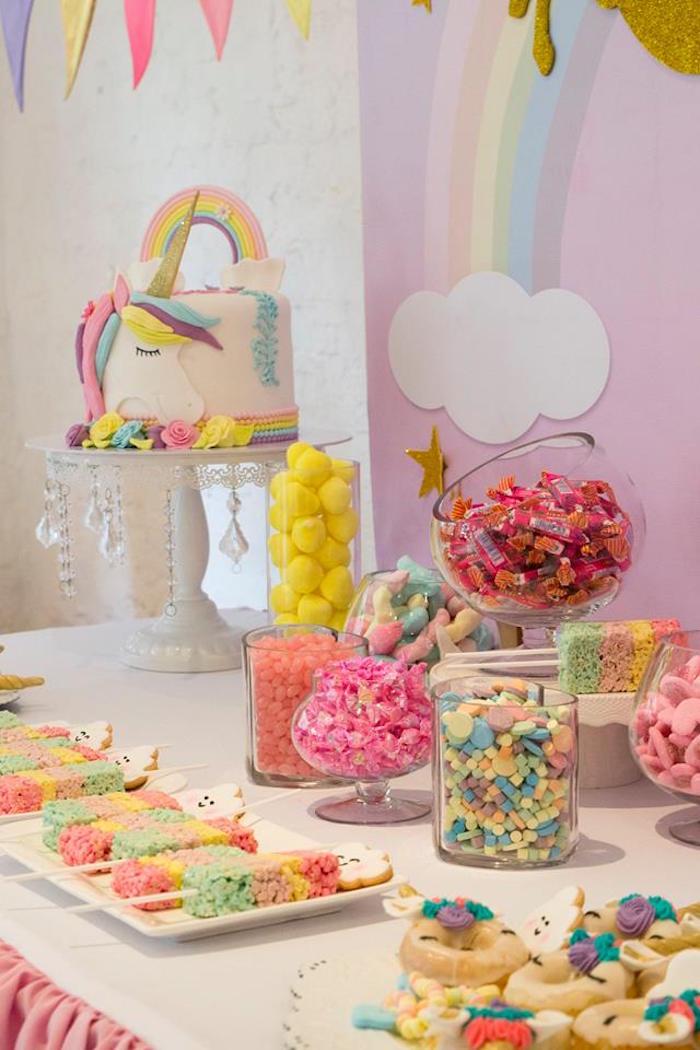 Unicorn Candy Table Ideas : unicorn, candy, table, ideas, Kara's, Party, Ideas, Pastel, Rainbow, Unicorn, Birthday