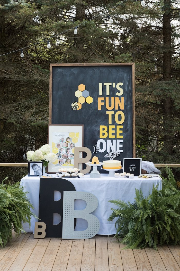 bee themed 1st birthday party