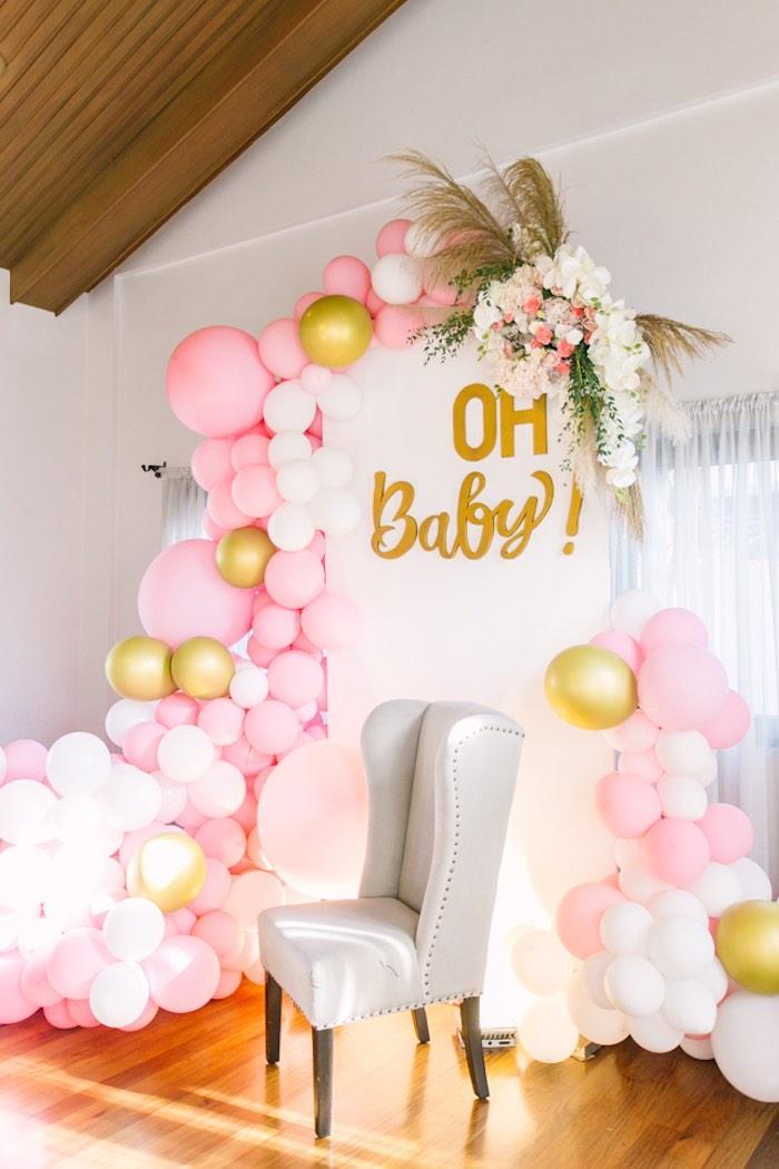 Baby Shower Backdrop : shower, backdrop, Kara's, Party, Ideas, Elegant, Floral, Shower