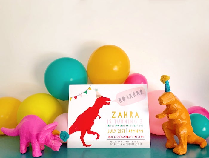Modern Dinosaur Party Invite from a Glam Three-Rex Dinosaur Party on Kara's Party Ideas | KarasPartyIdeas.com (3)