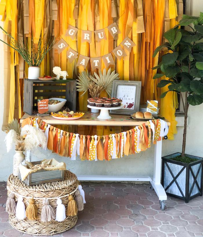 Grub Station from a Boho Lion King Birthday Party on Kara's Party Ideas | KarasPartyIdeas.com (8)