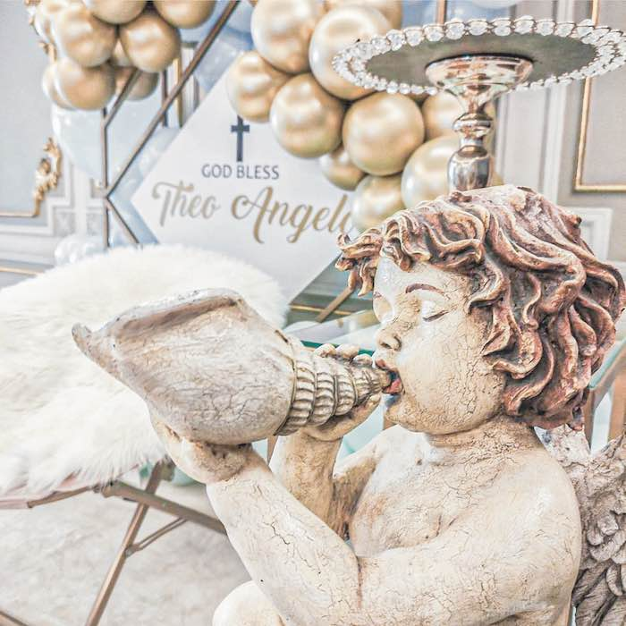 Angel Statue from a Pastel Angel Baptism Party on Kara's Party Ideas | KarasPartyIdeas.com (5)
