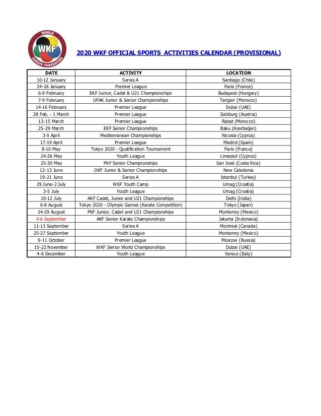 Calendario Chile 2020.Wkf 2020 Sports Calendar Provisional Karate Y Algo Mas