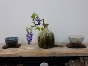 Chosen Karatsu vase with wisteria.