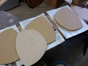 Stiffened slabs cut to match template.
