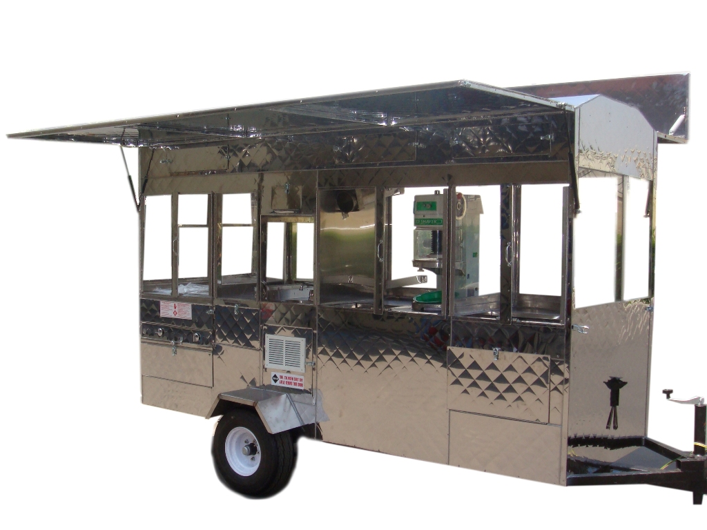 Combination cart: Hot dogs, Snow cones, Churros