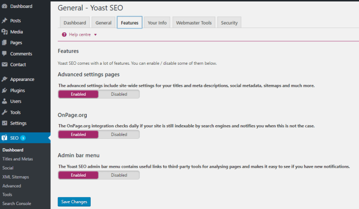 Yoast Dashboard Features