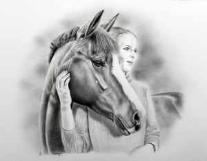 Portraitzeichnung Pferd Mensch