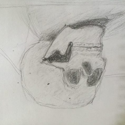 Alas poor Yorick... your portrait is being done by a student.