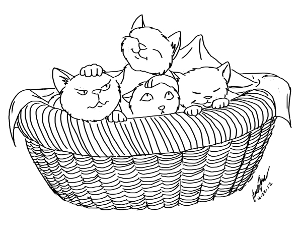 Kittens in Basket – Sketch