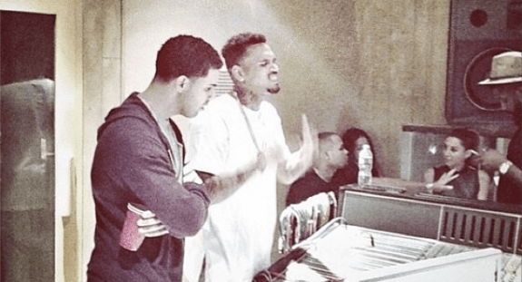 Chris Brown and Drake in the Studio