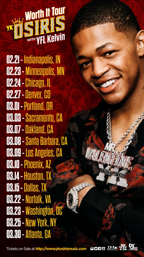YK OSIRIS ANNOUNCES THE 'WORTH IT TOUR' WITH YFL KELVIN