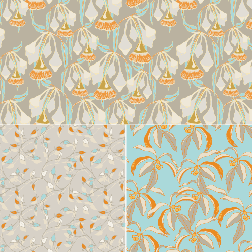 A click-through image displaying a sample of patterns in blue and taue and orange