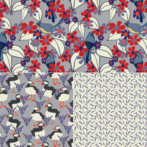 A click-through image display a sample of there patterns featuring birds and flowers.