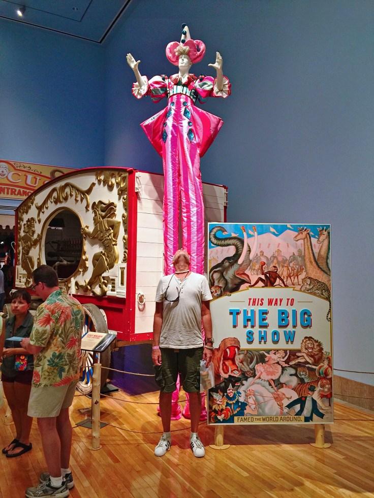 Tall man on stilts