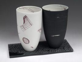 "Microscopy Vessel Pair Black and White 2 (back), 10""H x 6""W x 6""D each"