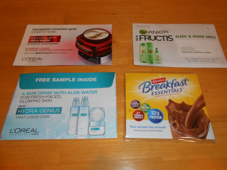 Here are some examples of free samples I get in the mail every month!