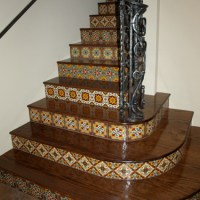 Wood Stairs with Tile Risers