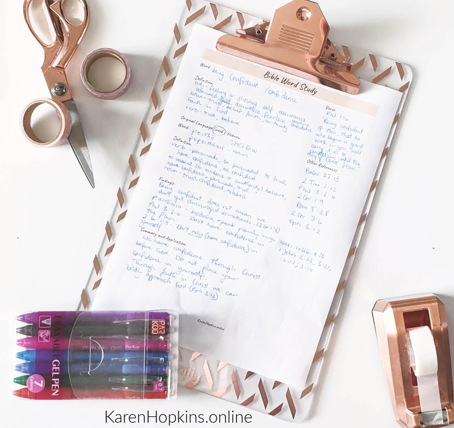 Bible Word Study Worksheet