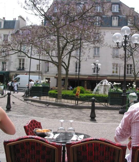 Empress trees in bloom at the Place de la Contrescarpe