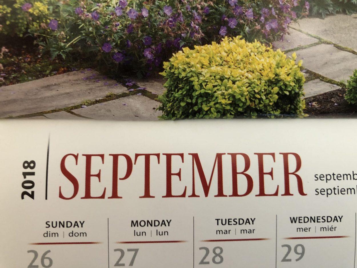 Calendar, Might and Main Monday: Dealing With Sunday Night Dread, Karen Hugg, https://karenhugg.com/2018/09/10/sunday-night-dread #inspiration #Mondays #Sundays #work #job #schedules