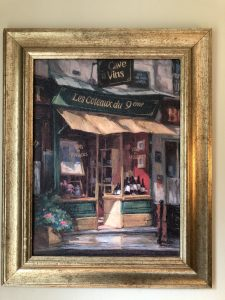 wine shop painting, Why I Love My Two Paintings of Paris, Karen Hugg, https://karenhugg.com/2018/09/06/paintings-of-paris/ #Paris #paintings #wineshop