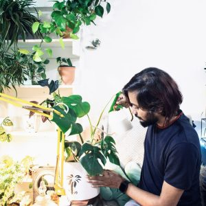 Man With Houseplants, How to Relax With a Saturday Morning Plant Ritual, Daily Stress ReLeaf, Karen Hugg, https://karenhugg.com/2021/02/18/morning-plant-ritual/, #dailystressreleaf #houseplants #relaxation #Saturdaymorning #ritual #plants #destressing #stress #mentalhealth #MarieKondo #houseplantcare