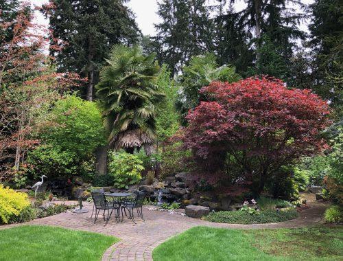 J.A. Jance Garden Patio, Author J.A. Jance Imagined a Colorful Epic Garden, Karen Hugg, https://karenhugg.com/2021/06/04/j-a-jance-garden/(opens in a new tab) #JAJance #garden #plants #gardening #Ovid #myth #thriller #author #books #poetry
