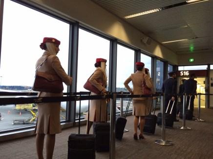 Strikingly beautiful Emirates flight attendants.