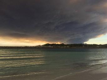 Bushfires near Esperance seen from the Southern Ocean