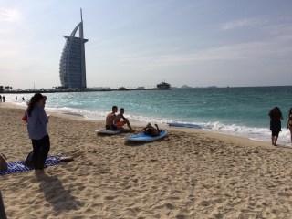 Burg Al Arab dramatically positioned on the Arabian Gulf, Dubai, UAE.
