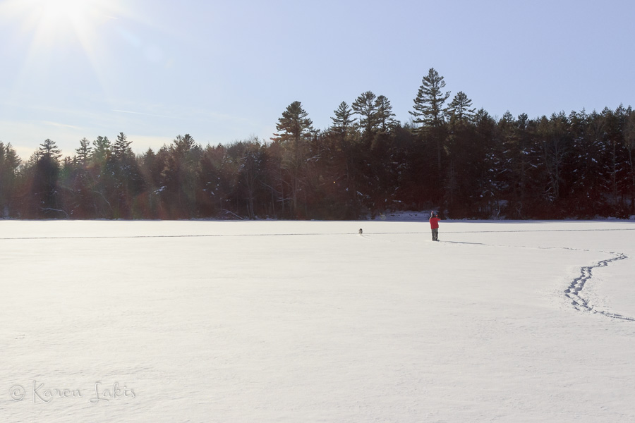 waling on the frozen lake