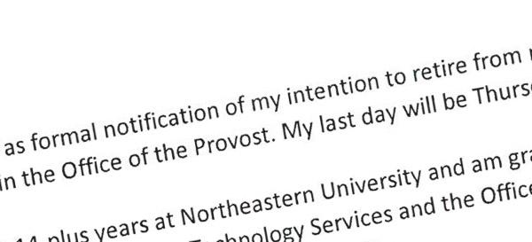 snippet of retirement letter
