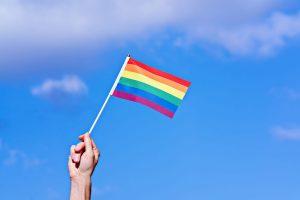 Karen Lewis LCSW Teaneck New Jersey_Raised hand waving LGBTQ flag