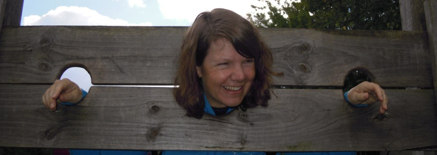 I'm smiling in a pretend stockade