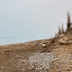beach, grey water and sky