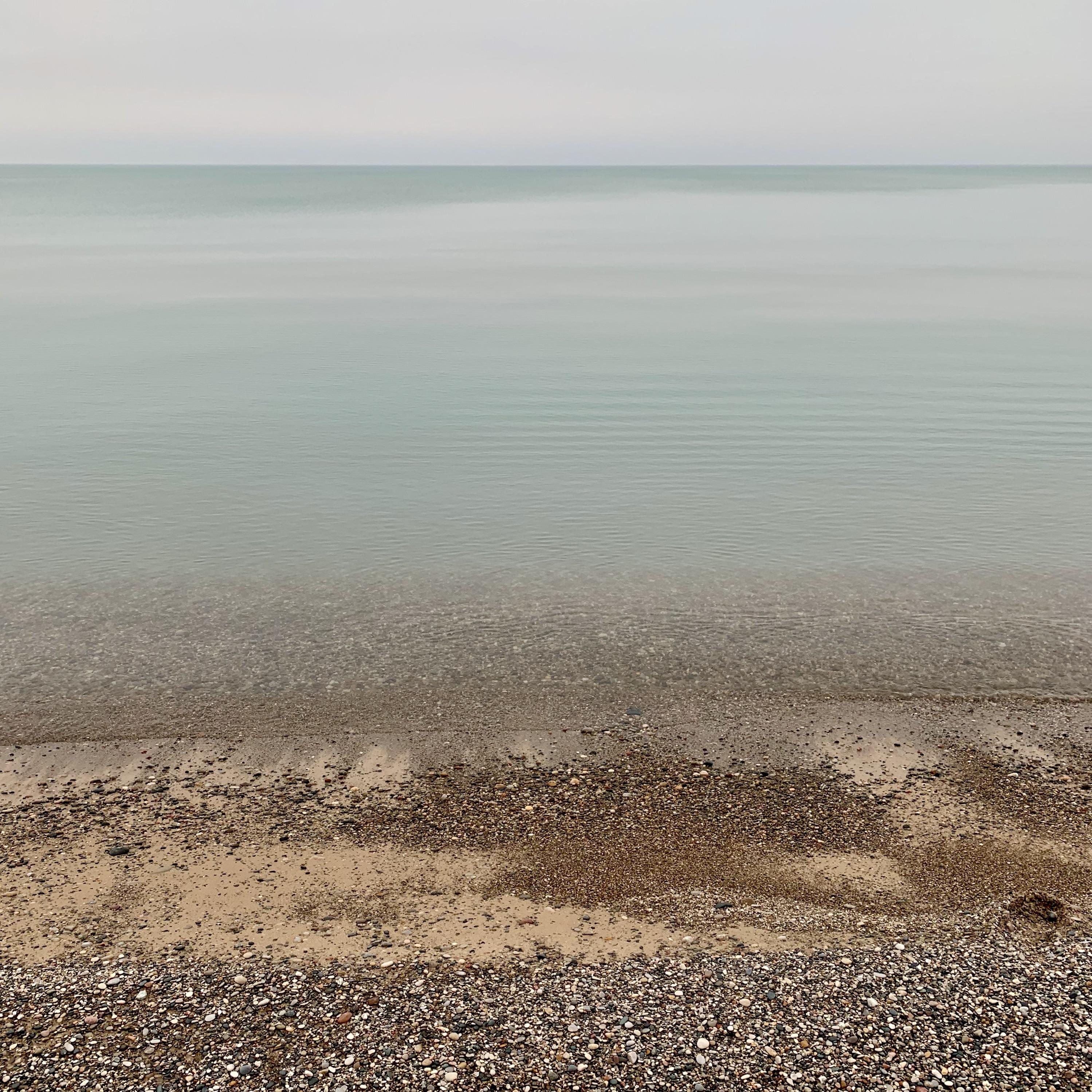 stones, sand, water, horizon, sky