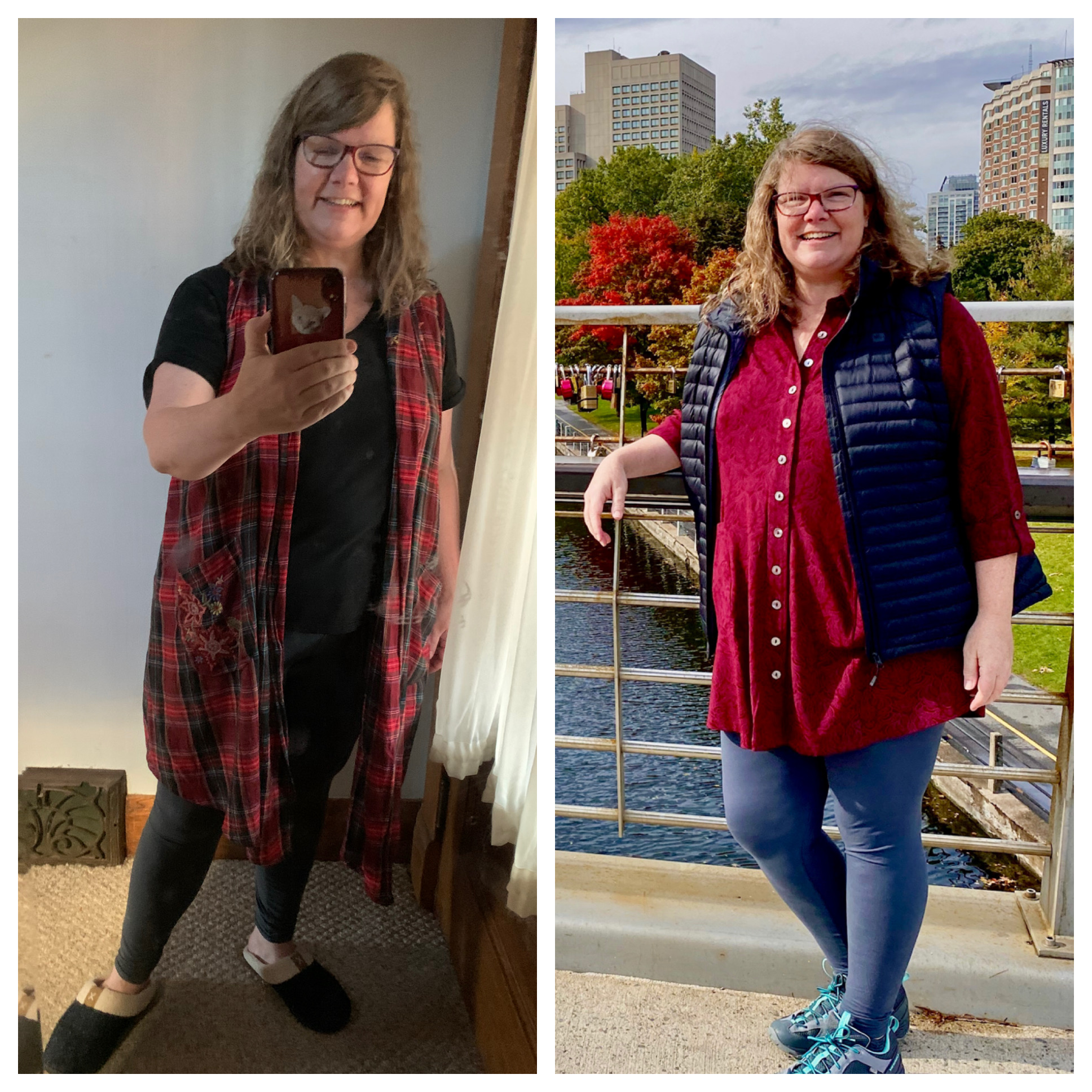 two photos of me, large and smiling