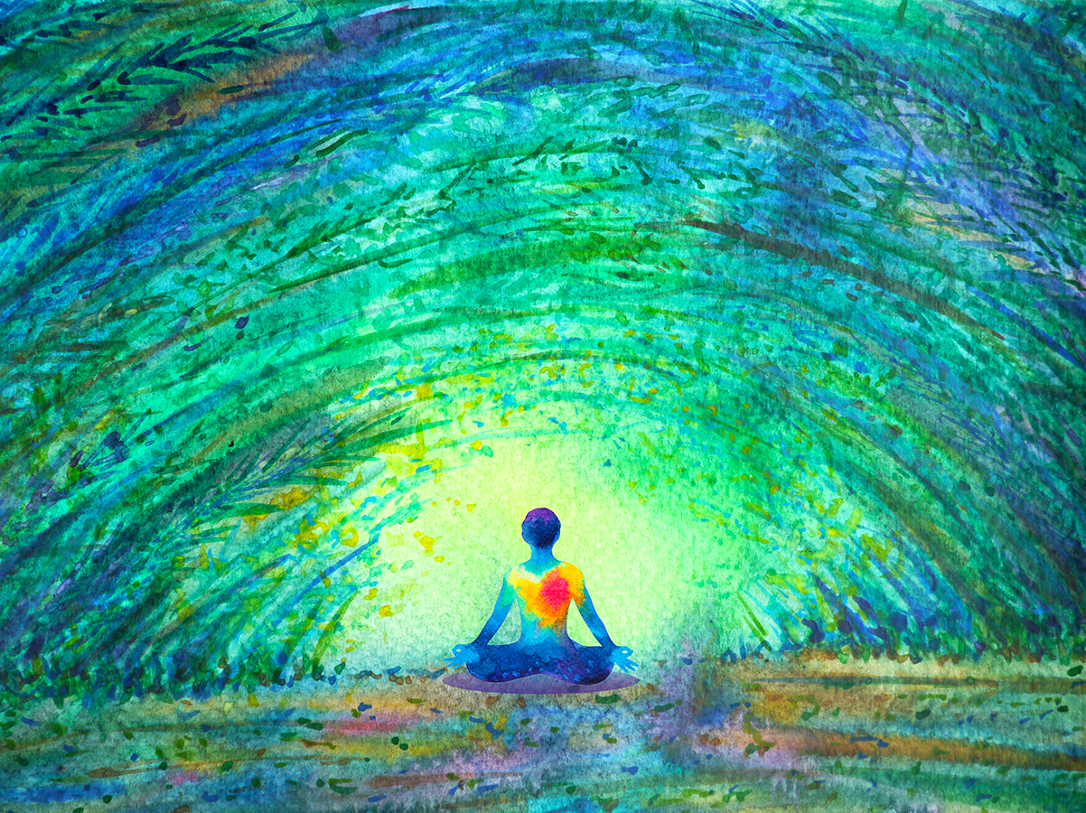 art by Benjavisa Ruangvaree showing a yogi with an enlarged heart sitting in lotus position under an arch of trees and looking into the light ahead