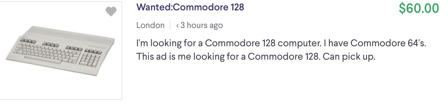 Wanted:Commodore 128