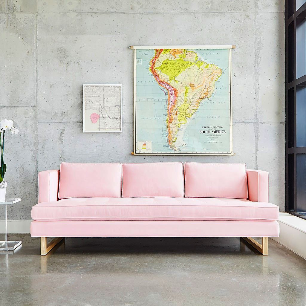 light pink sofa bed futon australia interior design blush accent pieces karen michelle